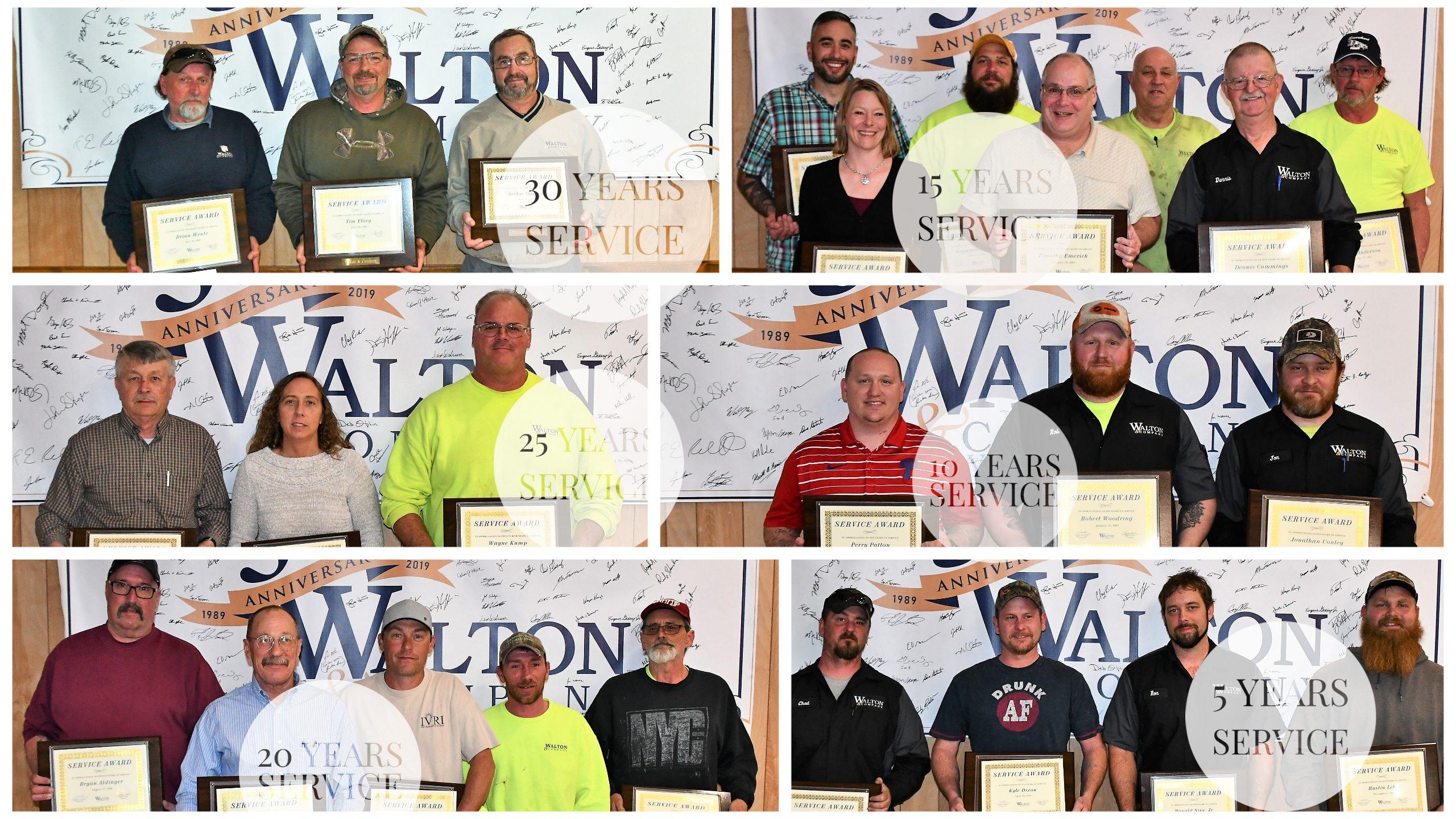 Walton and Company Service award recipients